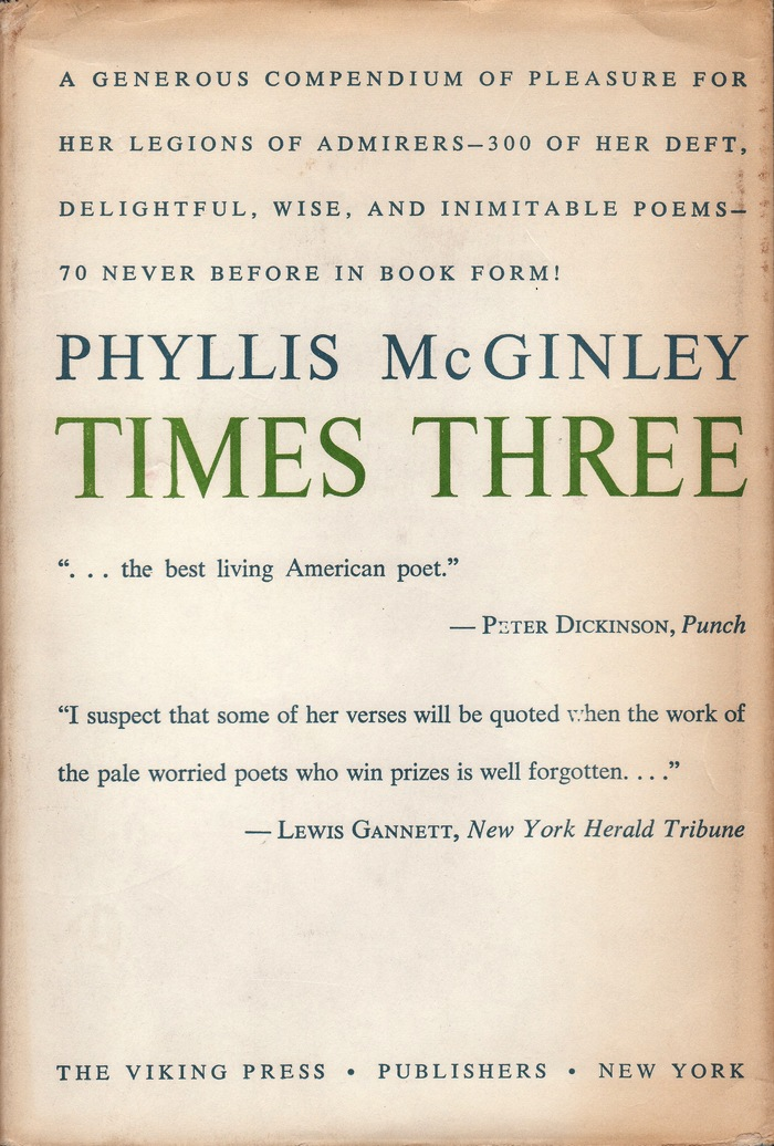 Phyllis McGinley, Times Three 2