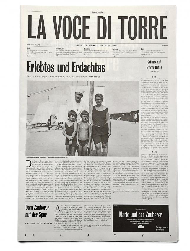 La voce di Torre: programme for the play Mario und der Zauberer 1