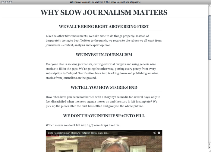 The Slow Journalism Company website 2