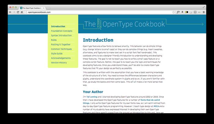 The Unofficial OpenType Cookbook 7