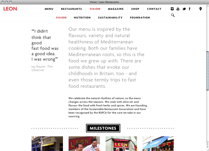 Leon Restaurants website 3