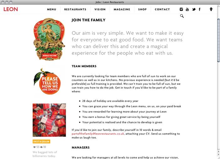 Leon Restaurants website 4