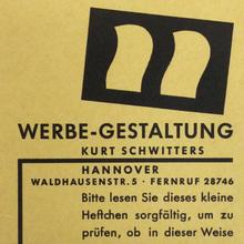 Werbe-Gestaltung Kurt Schwitters