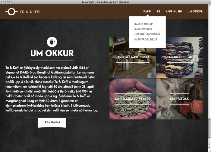Te & Kaffi website 2
