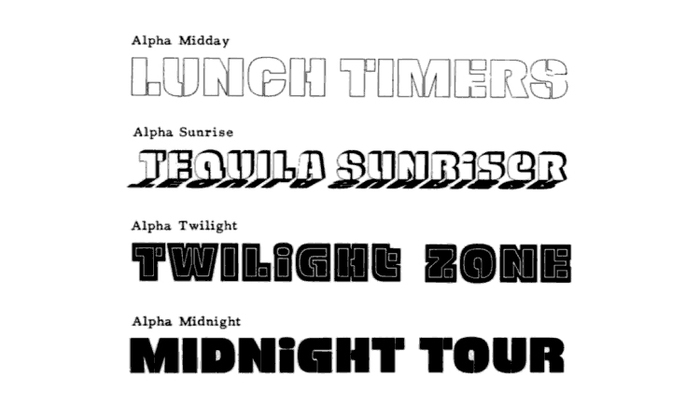 Alpha Midnight might be the most well known phototype of a series that also included Alpha Midday, Alpha Sunrise, and Alpha Twilight. Some have credited John Schaedler, of Tabasco fame, as the designer. Nick Curtis made a digital typeface inspired by Alpha Midnight called Mister Bones NF in 2011. Edit: Shin Oka has identified Hiroshi Yamashita as the designer.