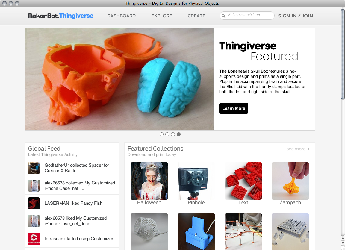Thingiverse website - Fonts In Use