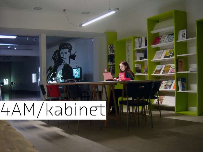 "4AM/Cabinet is ""a venue for meetings and an open work laboratory with a library including international magazines and publications about architecture, contemporary art and the new media."""