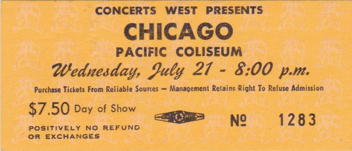 Wave makes its first appearance in 1972, here on a ticket for the PNE Garden Auditorium. The ticket design with Tempo caps for the act and Wave for the date against a patterned background was introduced in 1973.