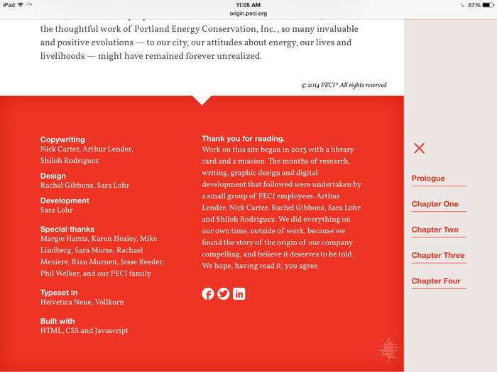 Footer using Neue Helvetica for headers and Vollkorn for copy