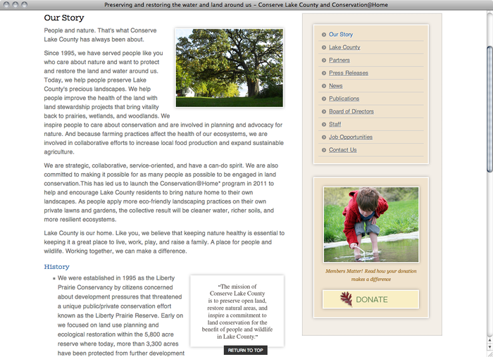 Conserve Lake County website 2