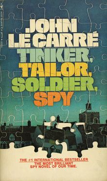 <cite>Tinker, Tailor, Soldier, Spy</cite> by John Le Carré (Bantam Books, 1975)