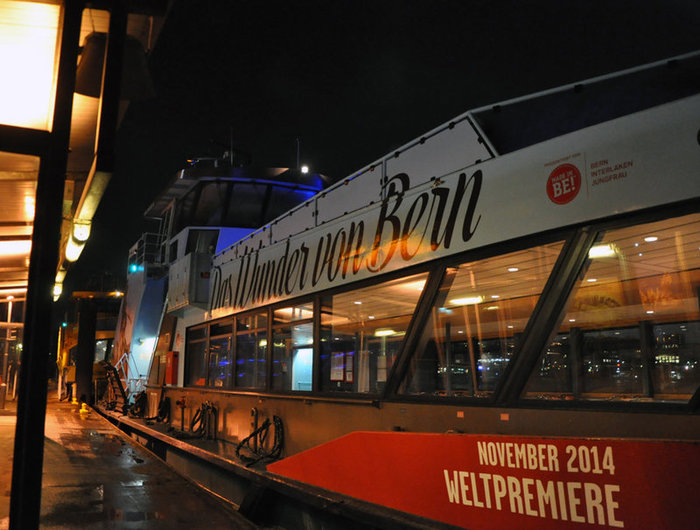 To get to the venue, visitors are ferried across the River Elbe by a dedicated shuttle.