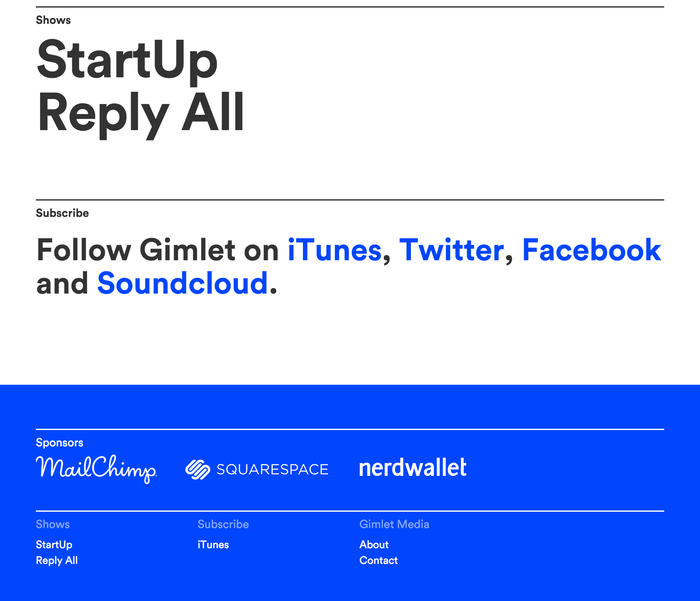 Gimlet Media logo and website 4