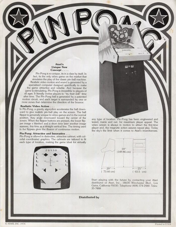 Atari Pin Pong flyer 2