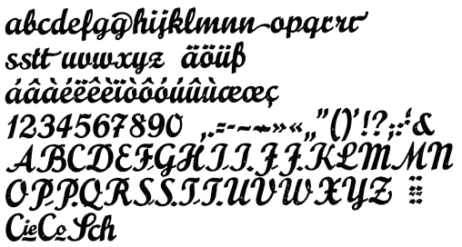 "Character set of Prägefest — image courtesy of the late Georg Kraus AKA Bleisetzer. Kandler: ""Another novelty was the relocation of the lowercase entry strokes onto the cap sorts, avoiding annoying overhangs."" Apart from the variants with high and low connector, the font includes alternates for 'r' and 'M'; swash terminal forms for 'g', 'n', 'r', 't'; ligatures for 'Sch' (a common German trigraph, with a different 'S'), 'Cie' (Compagnie) and 'Co' (Company). A different specimen additionally shows an alternate 'H' with closed top loop, a non-descending 'P' with minimal bowl, and ligatures for 'ch', 'ck', 'ff', 'ss'."