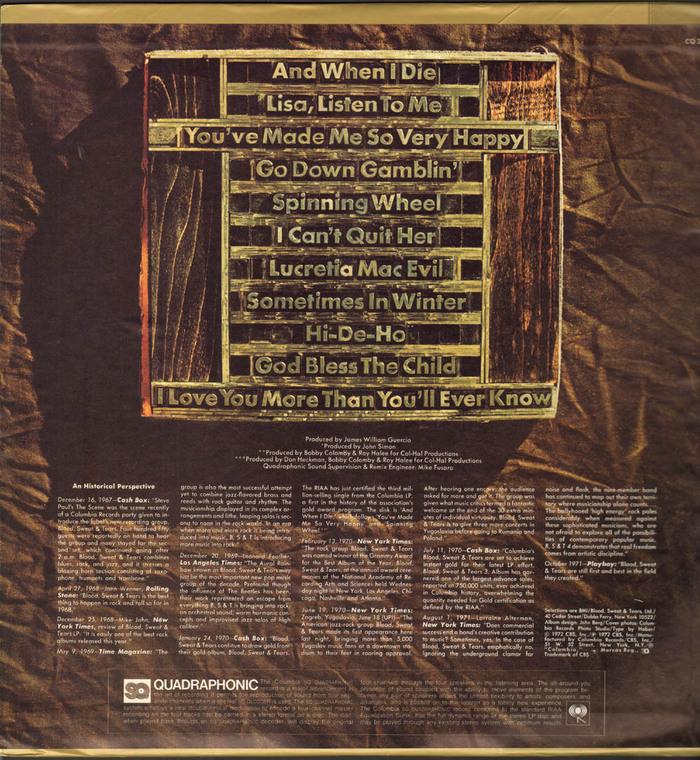 Blood, Sweat & Tears – Blood, Sweat & Tears Greatest Hits album art 2