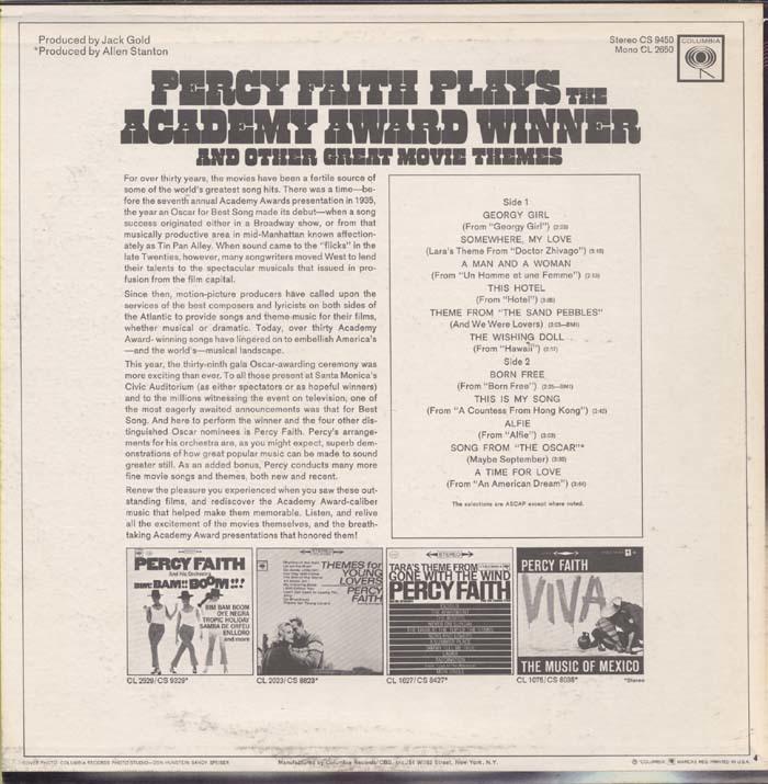 Percy Faith – Percy Faith Plays The Academy Award Winner Born Free And Other Great Movie Themes album art 2