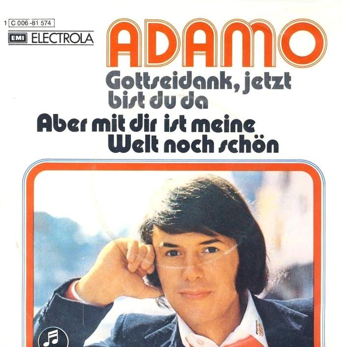 """Adamo – """"Gottseidank, jetzt bist du da"""" / """"Aber mit dir ist meine Welt noch schön"""" single cover"""