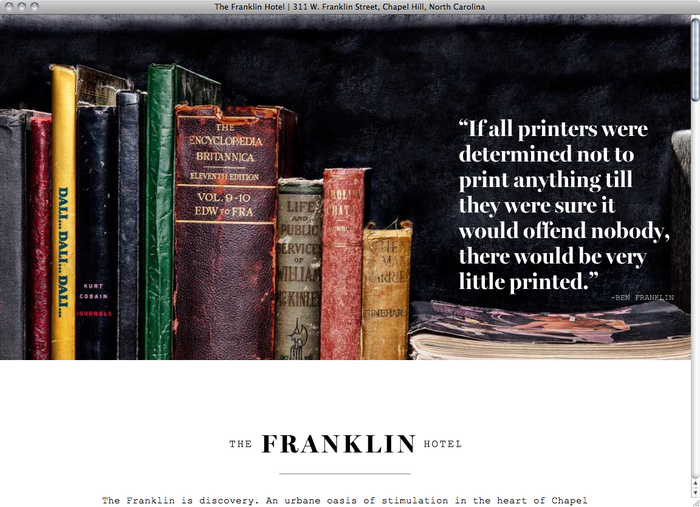 The Franklin Hotel NC website 1