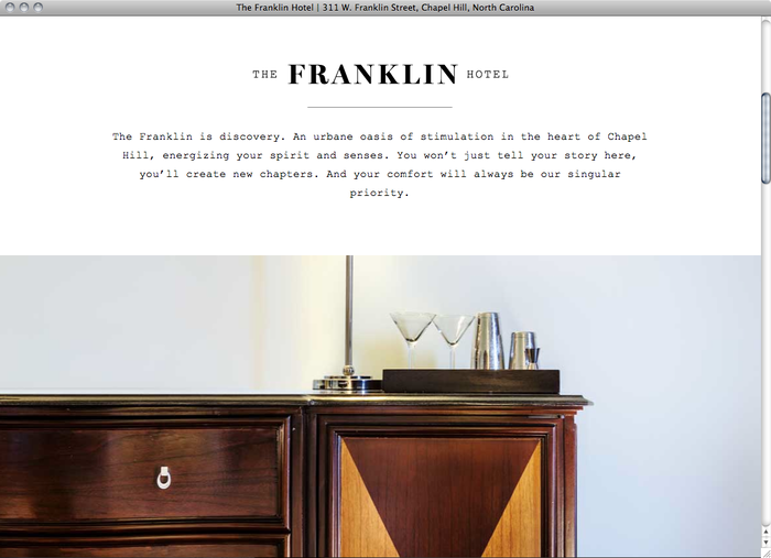 The Franklin Hotel NC website 2