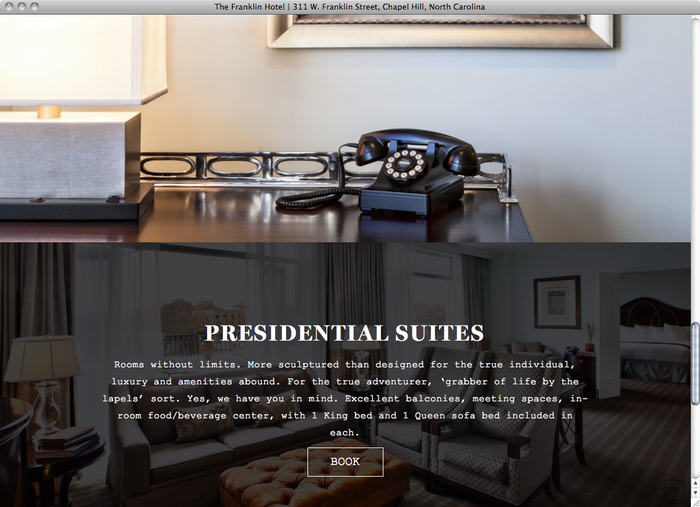 The Franklin Hotel NC website 4