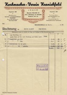 Korbmacher-Verein Kranichfeld invoice, 1939