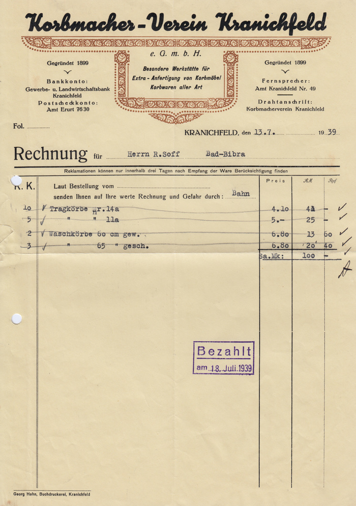Korbmacher-Verein Kranichfeld invoice, 1939 1