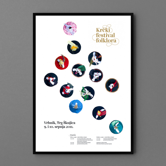 """Poster — There are thirteen different folk groups participating in the festival. On the poster, each one is represented with their characteristic dress, photographed from above while the dancer was spinning. The positioning of the dancers is not random — each is positioned relative to their geographic location on the island."""