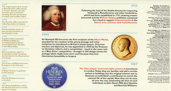 Royal Society of Arts 250th Anniversary stamps 5
