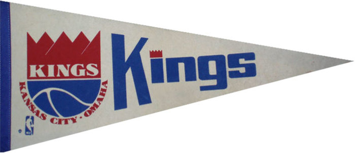 "Pennant from the 1973/74 season. The large ""Kings"" is likely lettering."