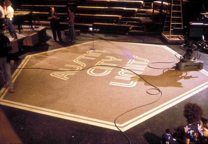 Apparently ACL's old set at Communications Building B on the University of Texas at Austin campus had a sizeable hexagonal rug. (Since 2011, Austin City Limits has filmed their concerts at the Moody Theater in downtown Austin, Texas.)