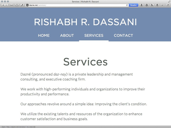 Services page.