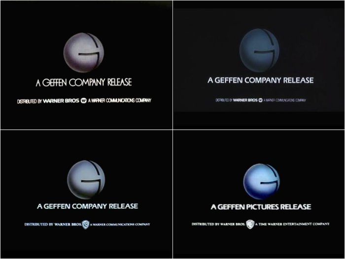 Evolution ofGeffen Pictures logos, 1982–97.