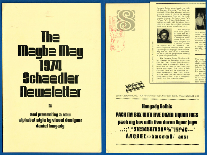 Schaedler Newsletter, Maybe May, 1974