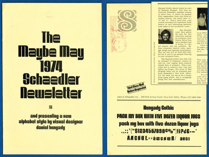 Schaedler Newsletter, Maybe May, 1974