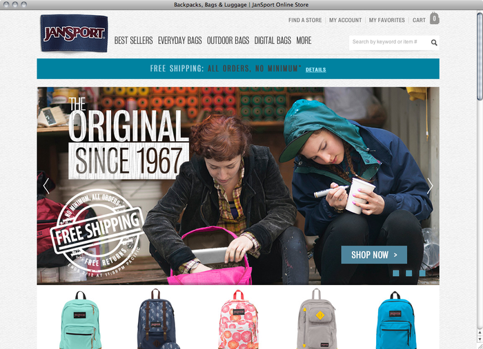 JanSport website 1