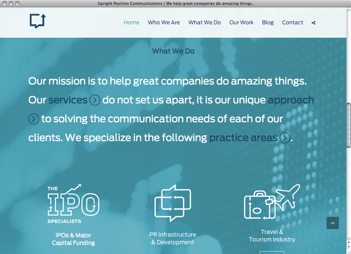 Upright Position Communications website 2