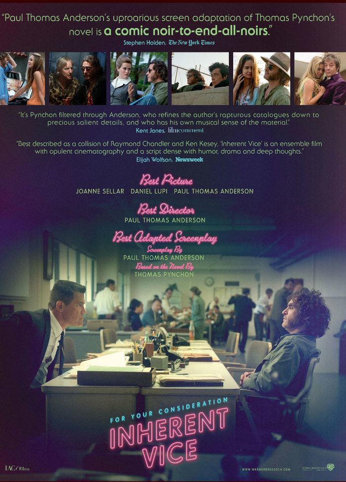 A month or so into the promotional process for Inherent Vice, two new typefaces started to make an appearance. Poster artist/type designer Corey Holms's Ne10 (seen here in all-caps) and Ryoichi Tsunekawa's Sneaker Script both work for ready-out-of-the-box neon-inspired type. ITC Serif Gothic is also in place for the quotes near the top.