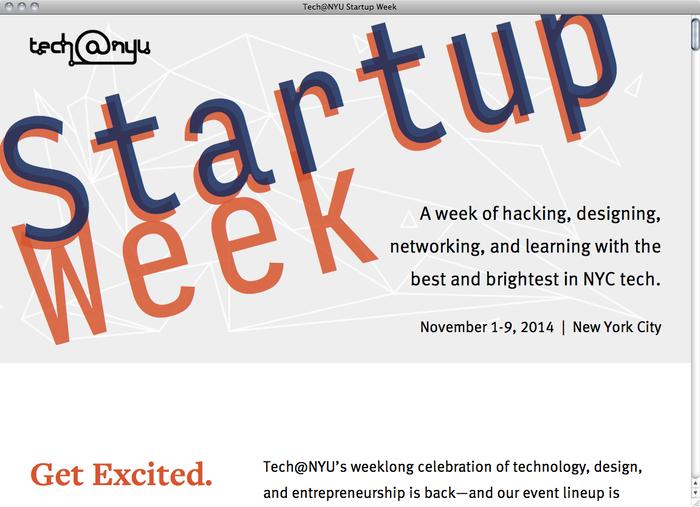 NYU Startup Week website 1