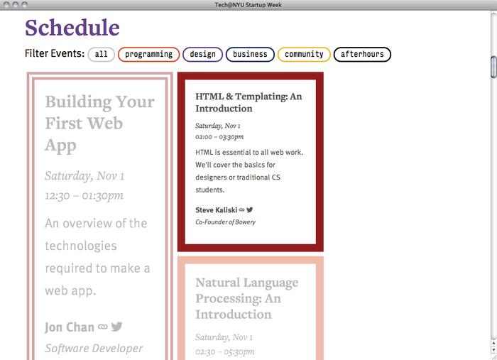 NYU Startup Week website 2