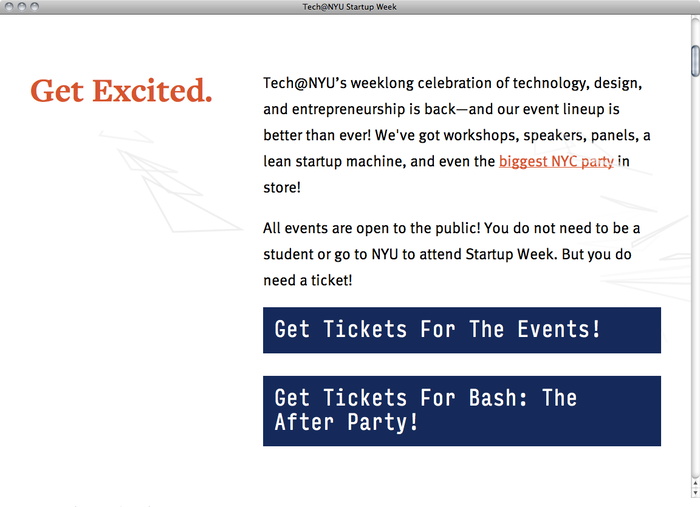 NYU Startup Week website 3