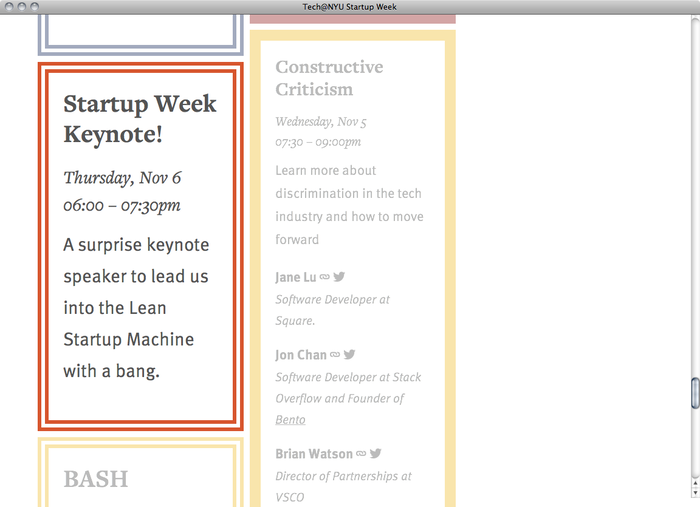 NYU Startup Week website 4