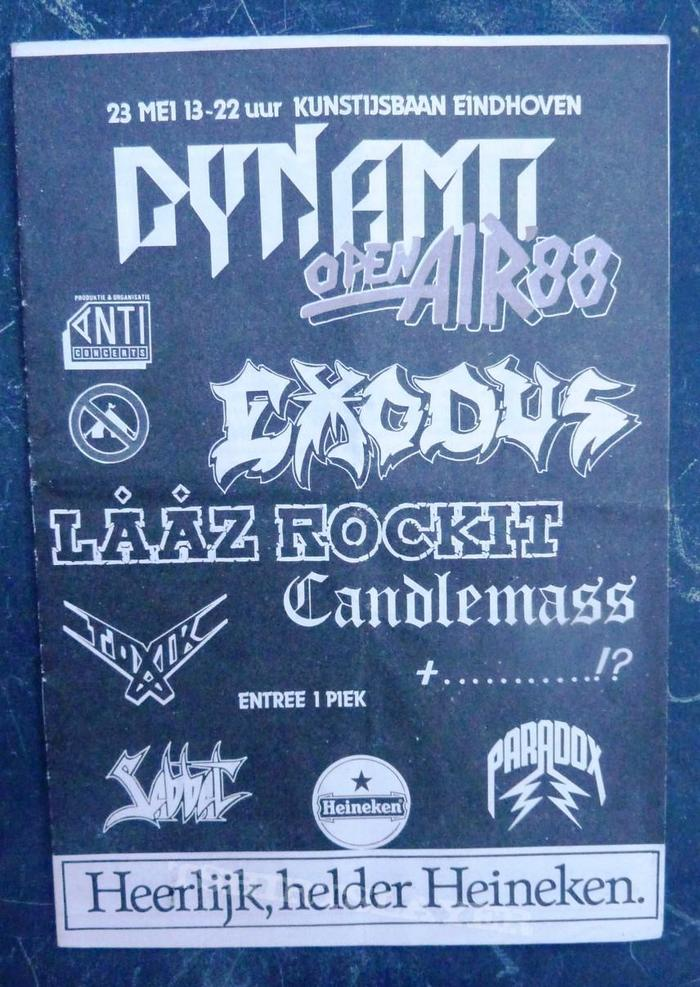 Dynamo Open Air '88. Looks like they stretched the thing out a bit here, but the tapering cut in the 'M' works better than the simple line in the other logo version above.