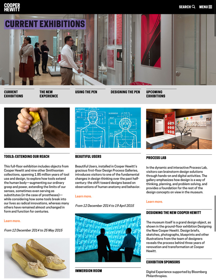 Cooper Hewitt (2014) branding, wayfinding, website 3