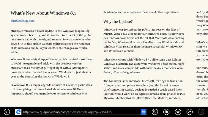 Internet Explorer 11 Reading View 1