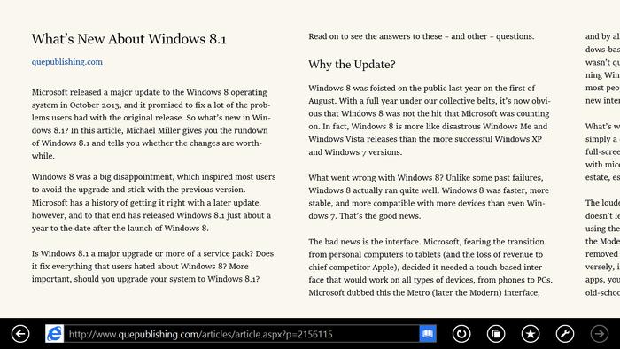 Internet Explorer 11 Reading View 1