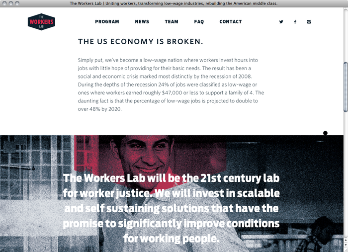 The Workers Lab website 2