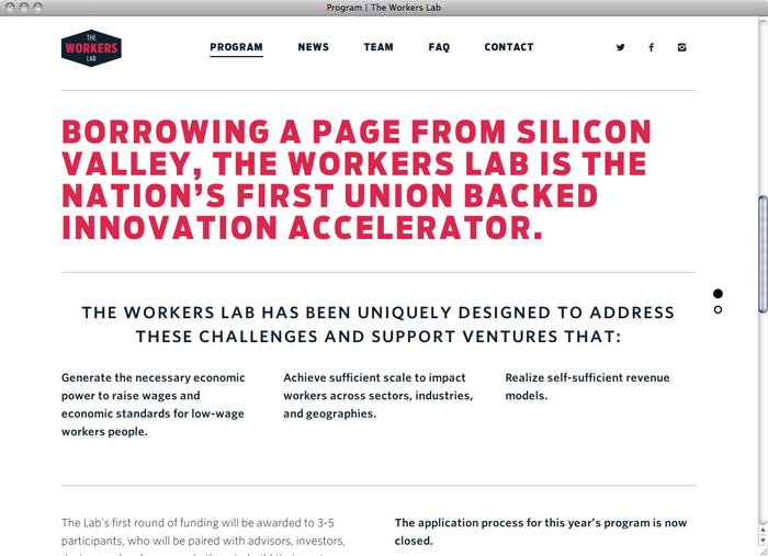 The Workers Lab website 4