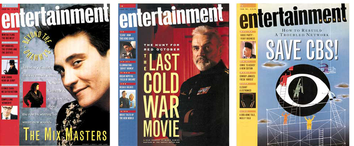 """Early issues of Entertainment Weekly featured a tilted logo and a strip of secondary headlines and images on the left-hand side. The logo would change a number of times in the next few years."" — Robert Newman, SPD Grids"