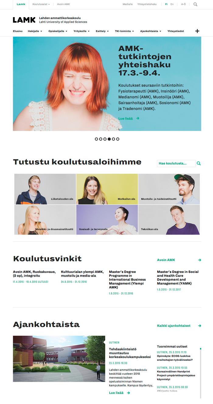 Homepage, narrow view